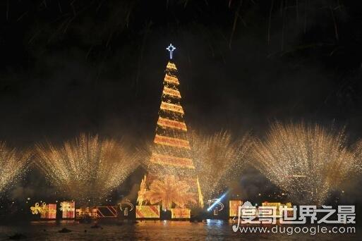 世界上最大的圣诞树。巴西热内卢重542吨高85米圣诞树漂浮在湖上