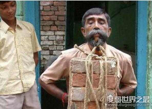 世界上最强壮的胡子,能提起127斤的重物(最长胡子5.22米)