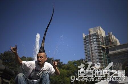 """世界上最高的莫西干发型:1.18米(最高""""扫把头""""52厘米)"""