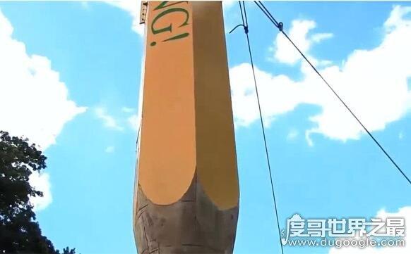 世界上最大的铅笔,直接用整颗大叔打造而成(长23米重9.7吨)